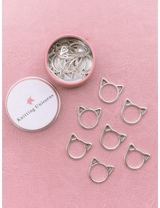 Knitting Unicorns Silver cat ring stitch markers