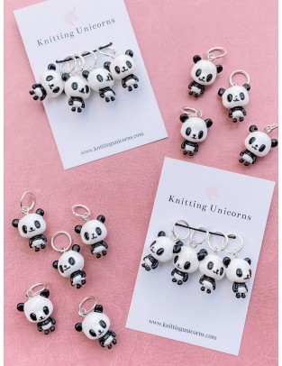 Knitting Unicorns Panda stitch markers