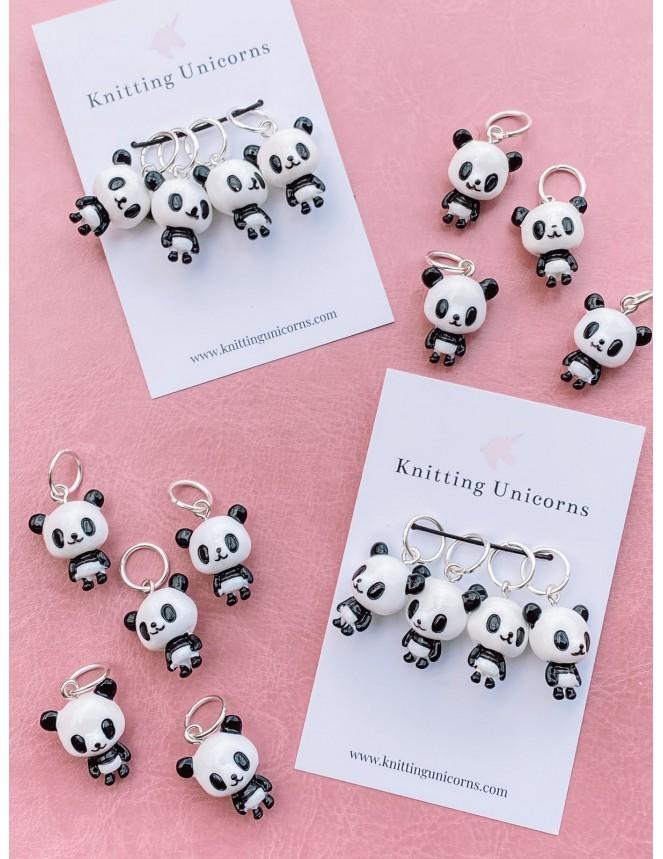 Knitting Unicorns Panda stitch markers