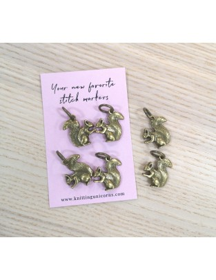 Knitting Unicorns Old gold Squirrels stitch markers