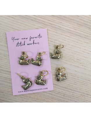 Knitting Unicorns Gold Ducks stitch markers